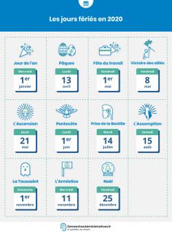 Jours fériés 2020 2021 : les dates du calendrier