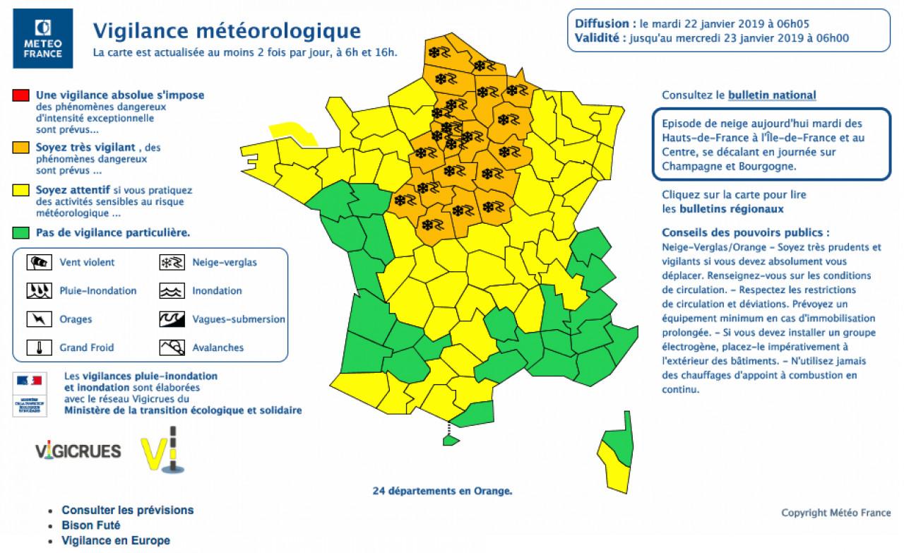 24 départements placés en vigilance orange neige et pluie verglaçante