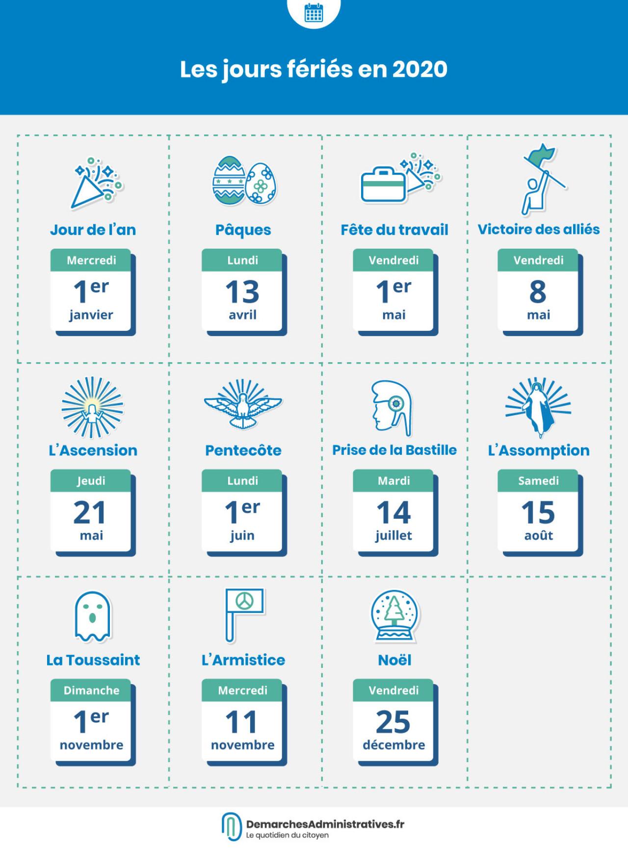 Calendrier des jours fériés en 2020 et 2021