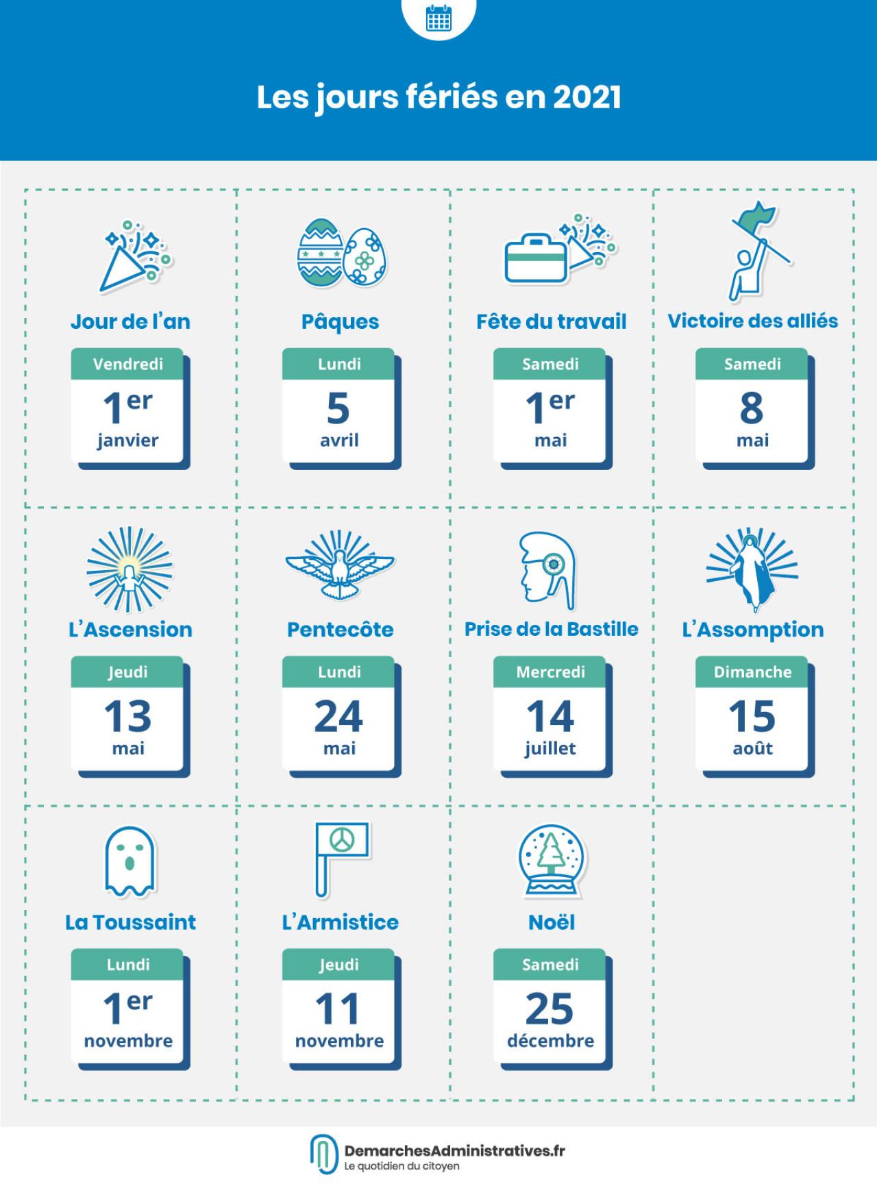 Calendrier Feries 2021 Jours fériés 2020 et 2021 : calendrier et dates