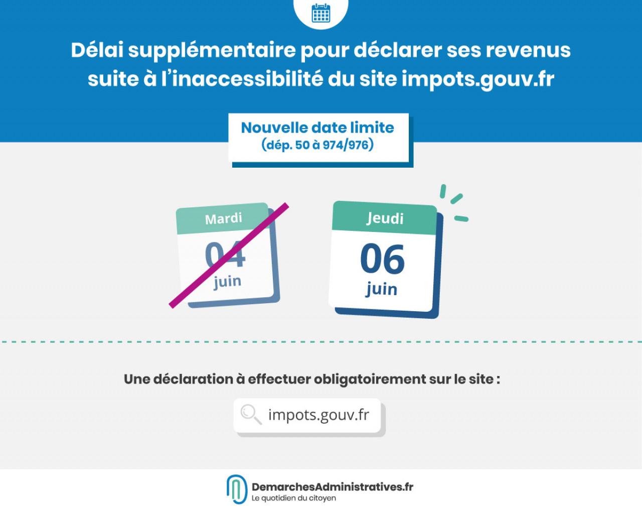 Délai supplémentaire pour la déclaration de revenus pour les départements 50 à 974/976