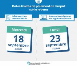 Date limite de paiement du solde de l'impôt sur le revenu 2018 : 18 ou 23 septembre