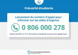 Numéro d'appel pour les étudiants en difficulté financière