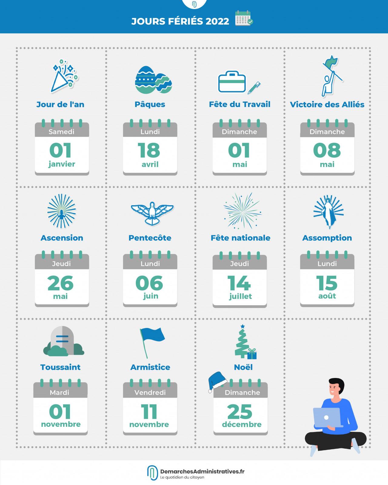 Jours fériés 2022 : les dates du calendrier à connaître
