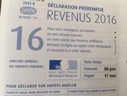 Mise en ligne du formulaire papier 2042 de déclaration d'impôt sur le revenu 2017