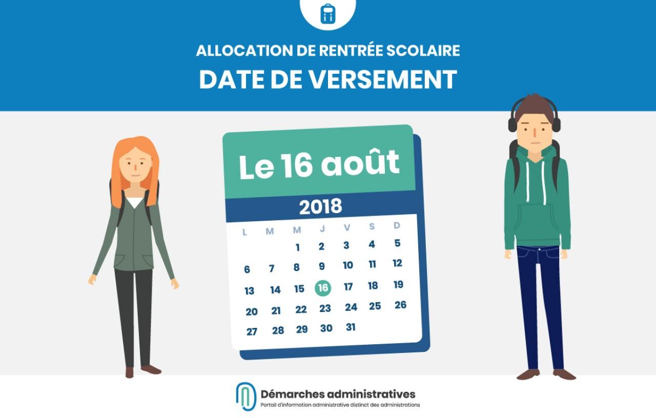 Versement de l'allocation de rentrée scolaire 2018-2019 le 16 août