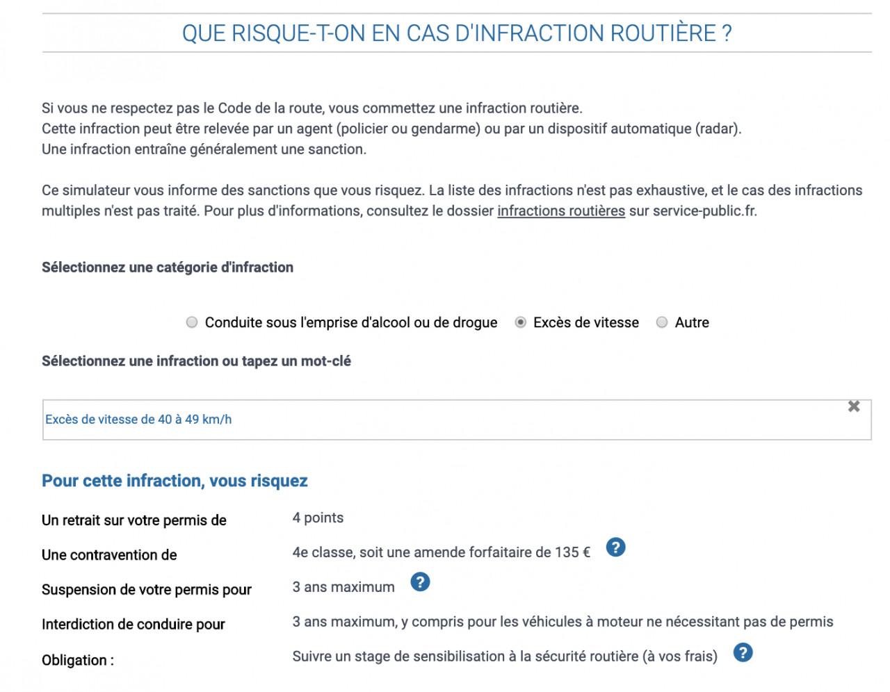 Simulateur de sanction aux infractions au Code de la route