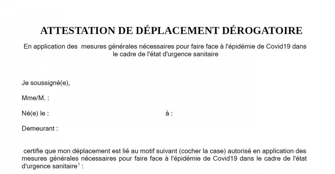 Telecharger L Attestation De Deplacement Derogatoire Pour Le Couvre Feu