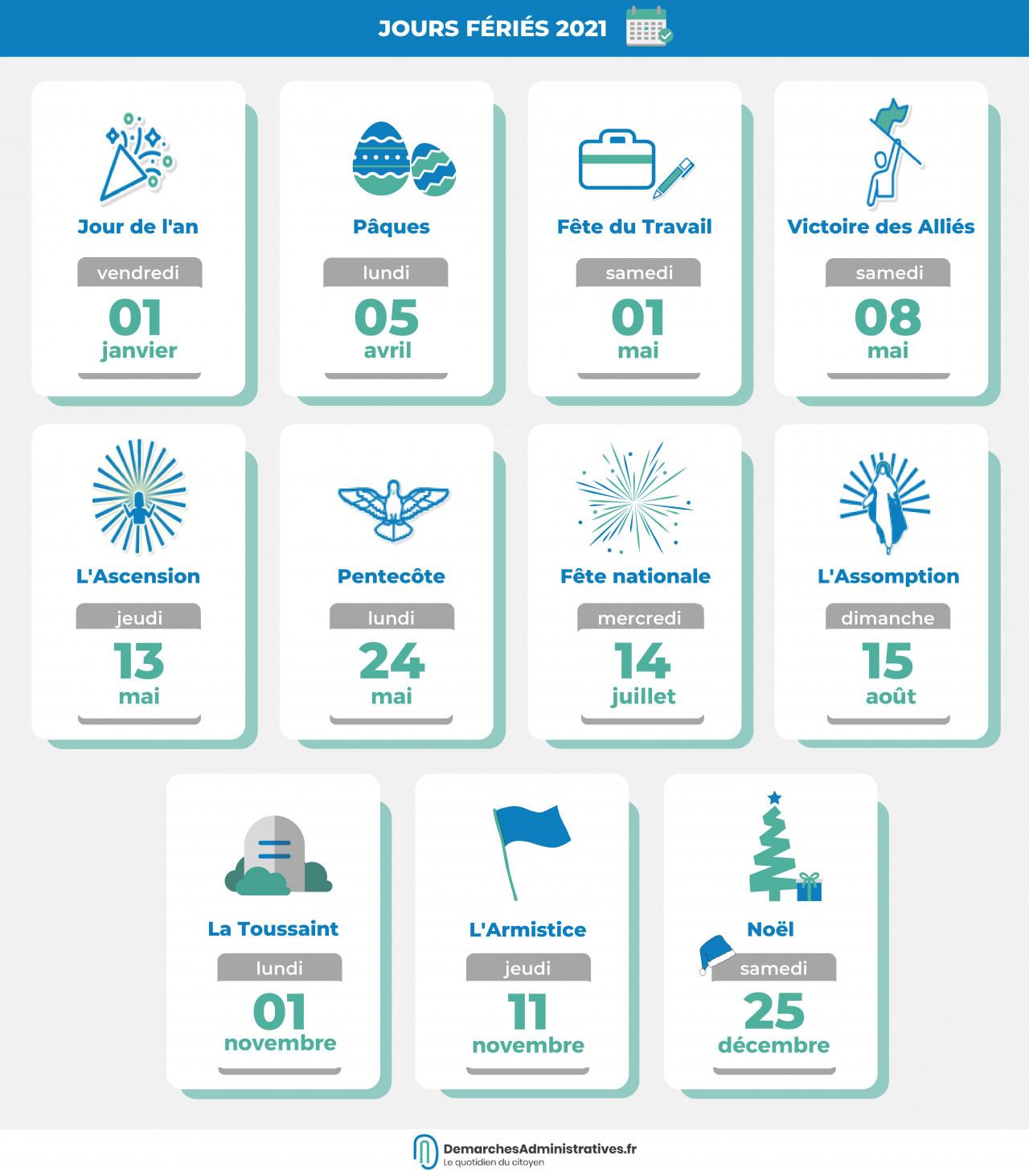 Jours fériés en 2021 : les dates du calendrier