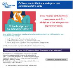 Complémentaire santé: simulateur d'aide financière sur Ameli.fr